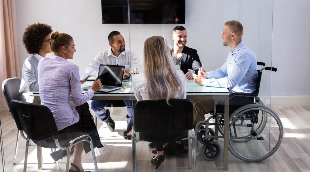 Diversity and Inclusion disability office meeting diverse workers